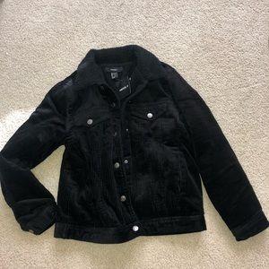 Forever 21 Black Corduroy Sherpa Jacket
